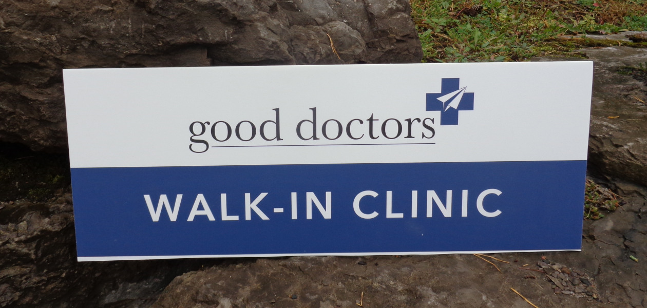 Walk in Clinic sign